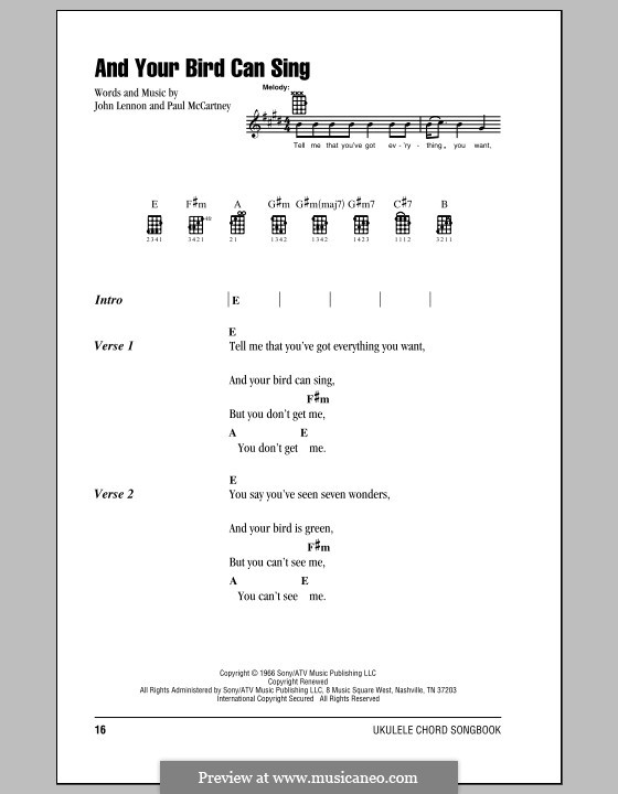 And Your Bird Can Sing (The Beatles): For ukulele by John Lennon, Paul McCartney
