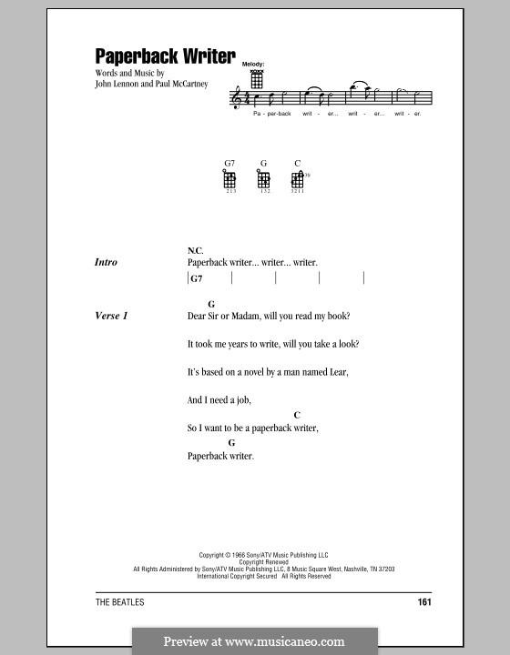 Paperback Writer (The Beatles): For ukulele by John Lennon, Paul McCartney
