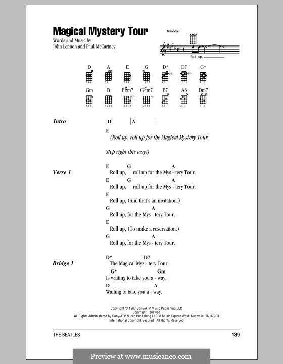 Magical Mystery Tour (The Beatles): For ukulele by John Lennon, Paul McCartney