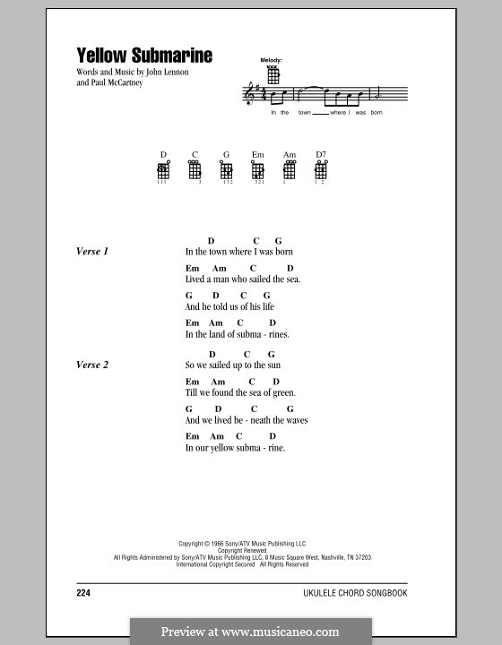 Yellow Submarine (The Beatles): For ukulele by John Lennon, Paul McCartney