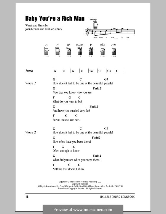 Baby You're a Rich Man (The Beatles): For ukulele by John Lennon, Paul McCartney