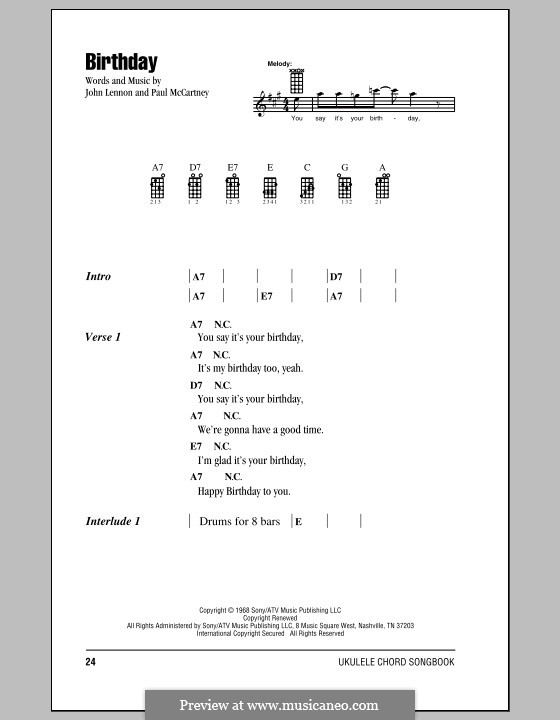 Birthday (The Beatles): For ukulele by John Lennon, Paul McCartney