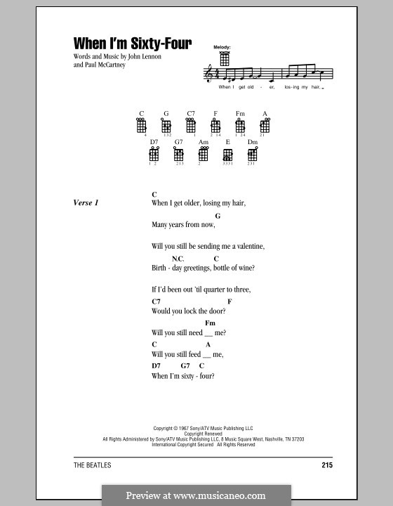 When I'm Sixty-Four (The Beatles), for One Instrument: For ukulele by John Lennon, Paul McCartney