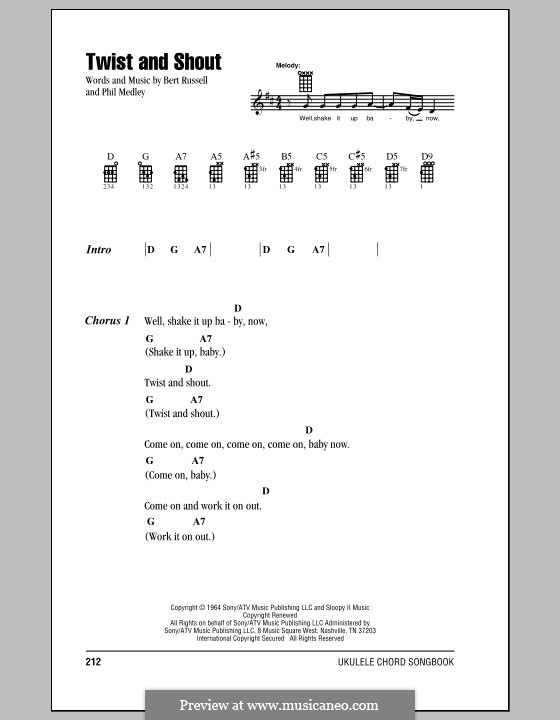 Twist and Shout (The Beatles): For ukulele by Bert Russell, Phil Medley