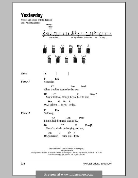 Yesterday (The Beatles): For ukulele by John Lennon, Paul McCartney