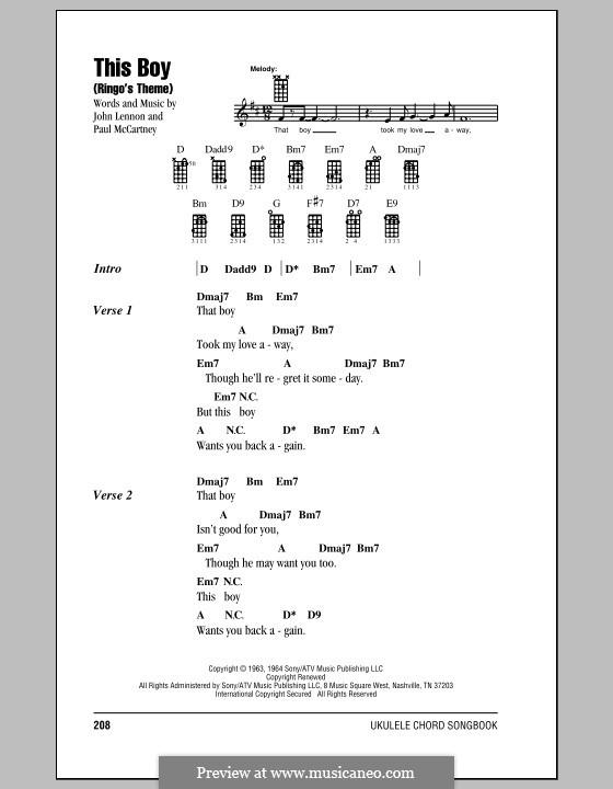 This Boy (Ringo's Theme): For ukulele by John Lennon, Paul McCartney