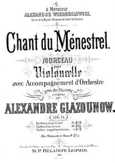 Minstrel's Song for Cello and Piano, Op.71: Score, solo part by Alexander Glazunov