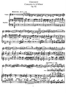 Concerto for Violin and Orchestra in A Minor, Op.82: For violin and piano – solo part, score by Alexander Glazunov