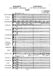 Concerto for Violin and Orchestra in A Minor, Op.82: Full score by Alexander Glazunov