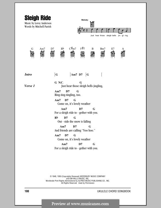 Sleigh Ride: Lyrics and chords by Leroy Anderson