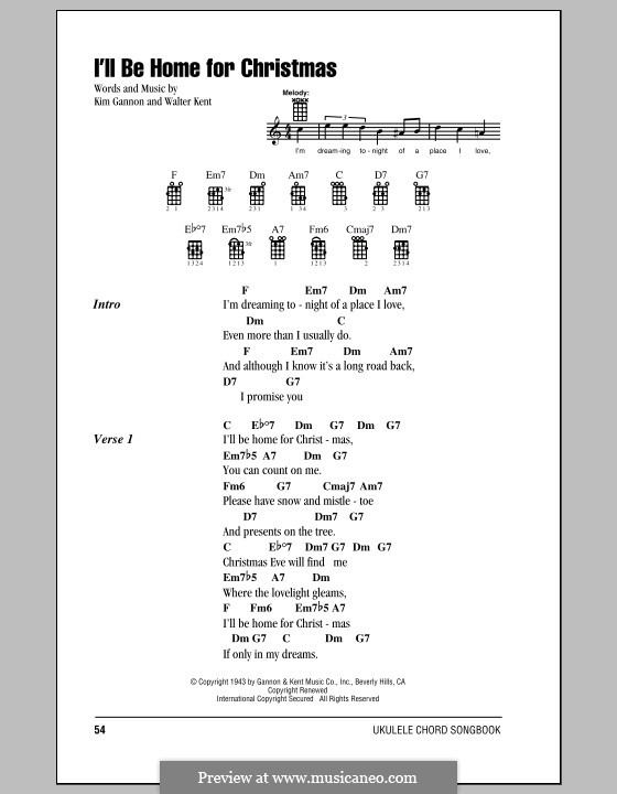 I'll Be Home for Christmas: Lyrics and chords by Kim Gannon, Walter Kent