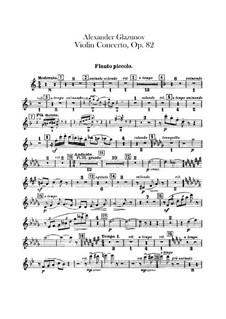 Concerto for Violin and Orchestra in A Minor, Op.82: Flutes parts by Alexander Glazunov