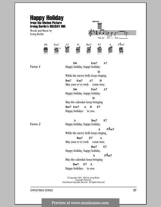 Happy Holiday: For ukulele by Irving Berlin