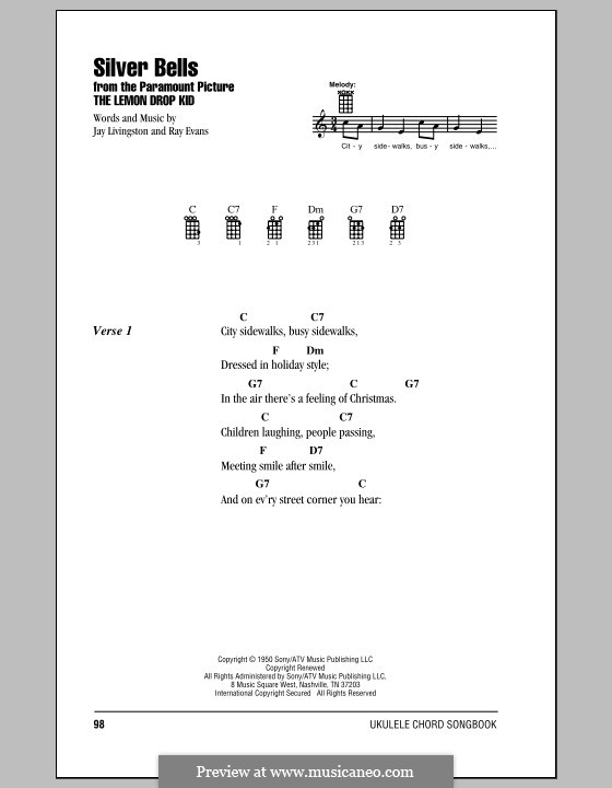 Silver Bells by J. Livingston, R. Evans - sheet music on MusicaNeo