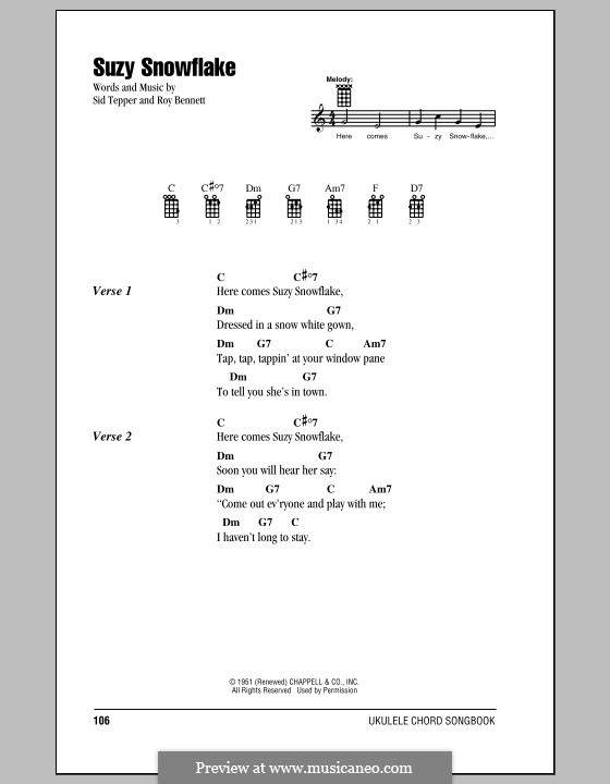 Suzy Snowflake (Rosemary Clooney): For ukulele by Roy C. Bennett, Sid Tepper