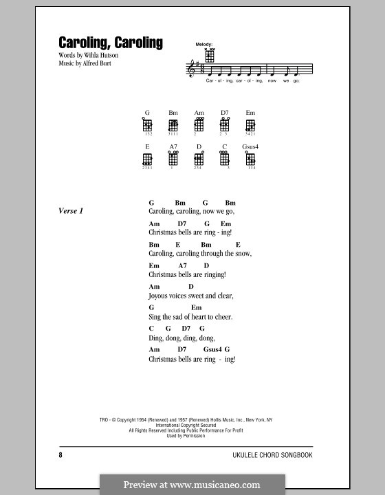 Caroling, Caroling (Nat King Cole): Lyrics and chords by Alfred Burt