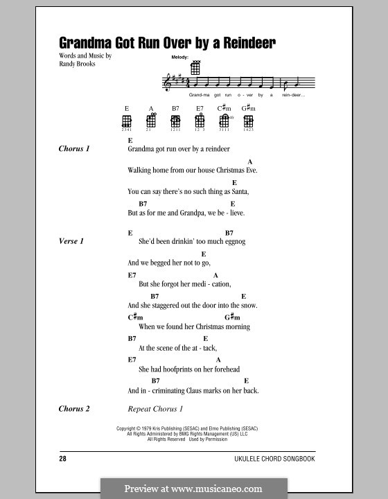 Grandma Got Run Over By a Reindeer: For ukulele by Randy Brooks