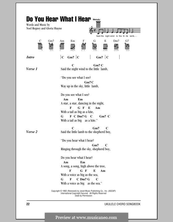 Do You Hear What I Hear: Lyrics and chords by Gloria Shayne, Noël Regney