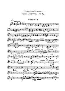 Concerto for Violin and Orchestra in A Minor, Op.82: Clarinets parts by Alexander Glazunov