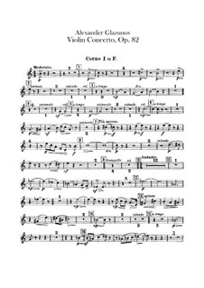 Concerto for Violin and Orchestra in A Minor, Op.82: French horns parts by Alexander Glazunov