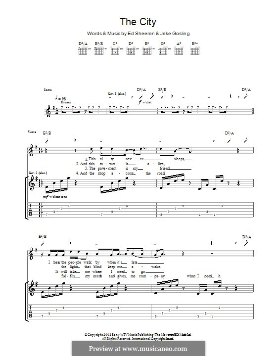 The City: For guitar with tab by Ed Sheeran, Jake Gosling