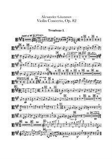 Concerto for Violin and Orchestra in A Minor, Op.82: Trombones parts by Alexander Glazunov