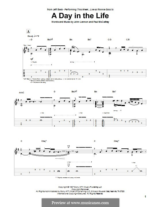 A Day in the Life (The Beatles): For guitar with tab by John Lennon, Paul McCartney