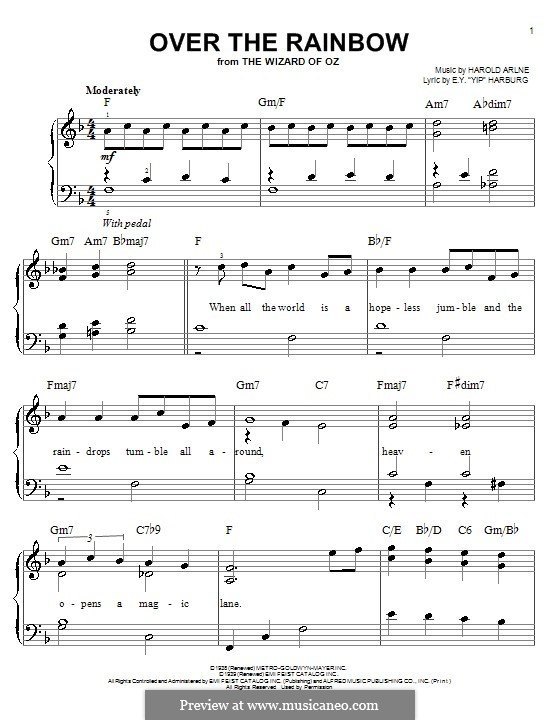 Over the Rainbow (from The Wizard of Oz): For piano (F Major) by Harold Arlen
