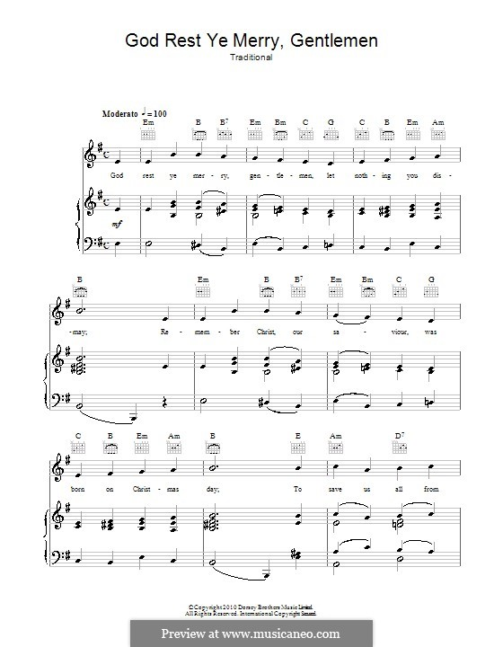 God Rest You Merry, Gentlemen (Printable Scores): For voice and piano (or guitar) by folklore