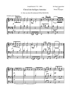 St. Anthony Chorale: Transcription for organ by Joseph Haydn
