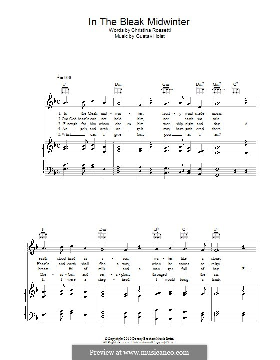 In the Bleak Midwinter: For voice and piano (or guitar) by Gustav Holst