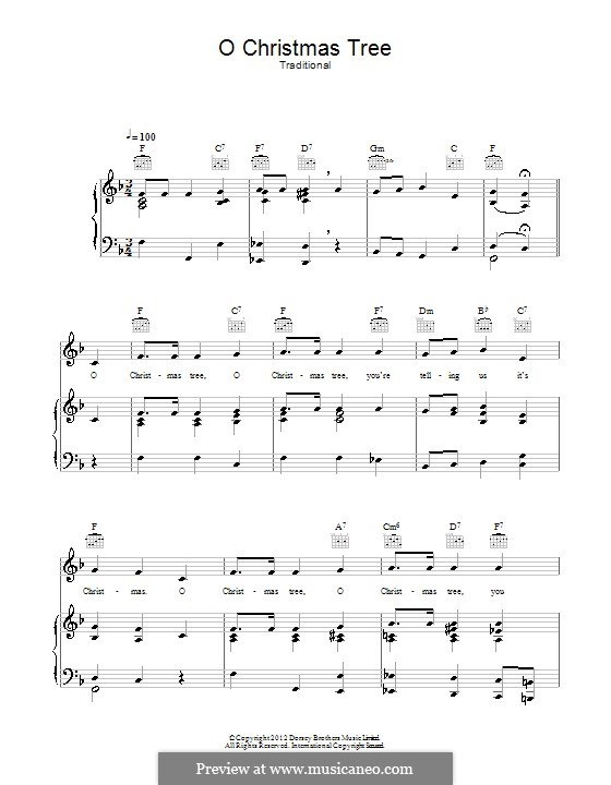 O Christmas Tree, (Printable Scores): For voice and piano (or guitar) by folklore