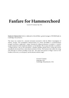 Fanfare for Hammerchord, Op.984: Fanfare for Hammerchord by Carson Cooman