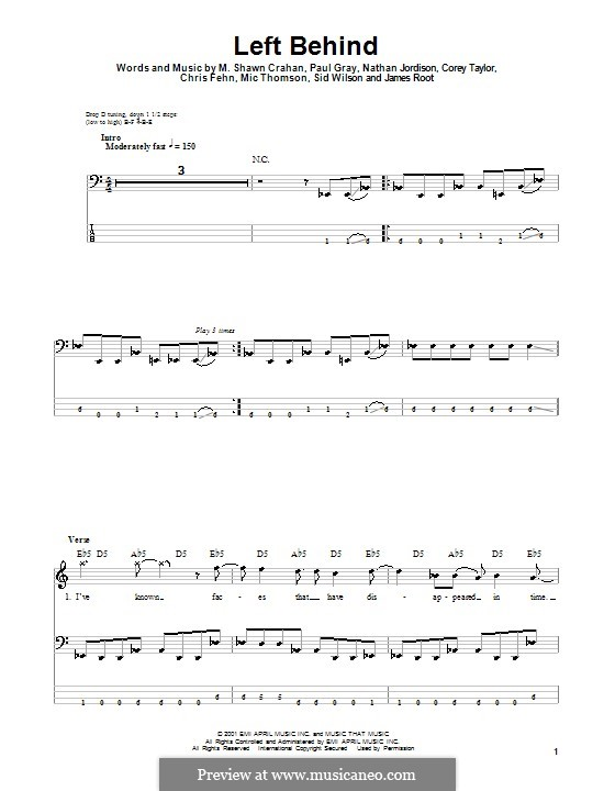 Left Behind: For bass guitar with tab by Slipknot