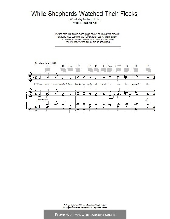 While Shepherds Watched Their Flocks: For voice and piano (or guitar) by folklore