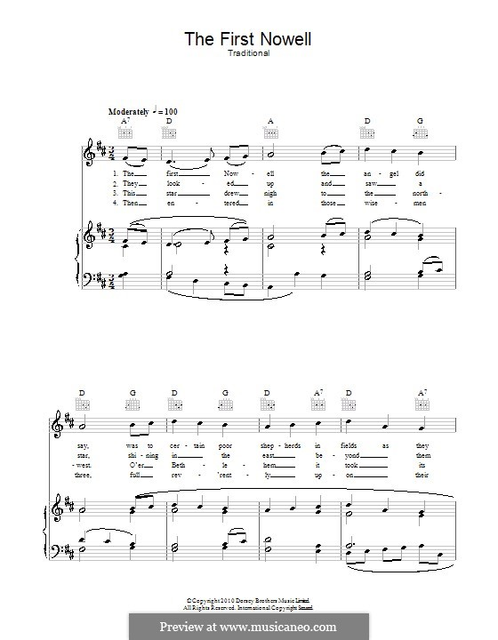 The First Nowell (The First Noël), Printable scores: For voice and piano (or guitar) by folklore