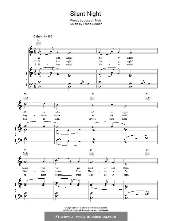 Silent Night (Printable): For voice and piano (or guitar) by Franz Xaver Gruber