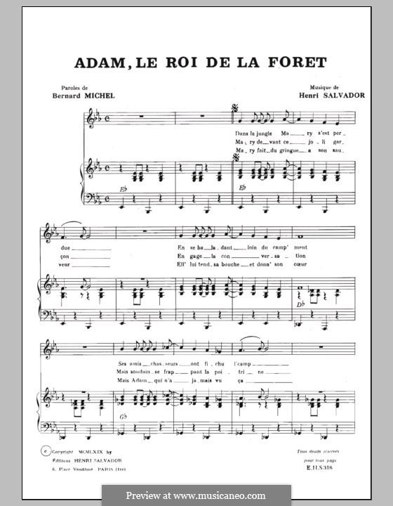 Adam Roi de la Foret: For voice and piano (or guitar) by Henri Salvador