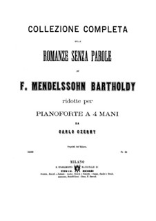 Songs without Words, Op.53: Complete set (for piano four hands) by Felix Mendelssohn-Bartholdy