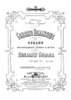 Concerto Romantique for Violin and Orchestra, Op.35: For violin and piano – score, solo part by Benjamin Godard