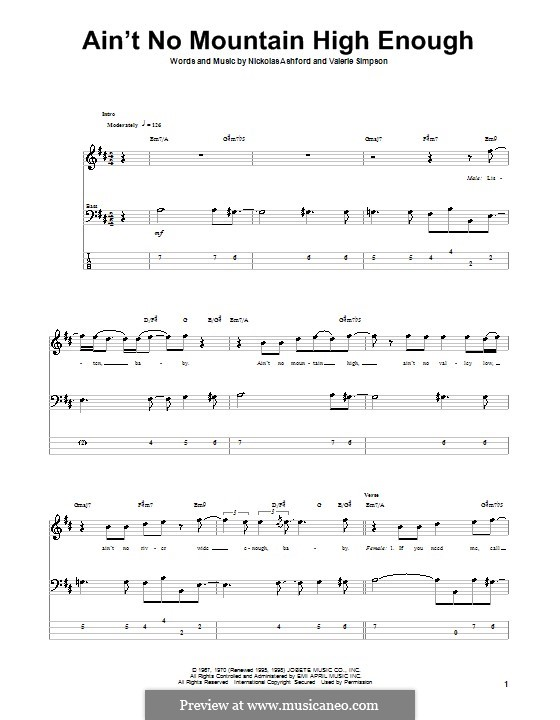Ain't No Mountain High Enough (Marvin Gaye & Tammi Terrell): For bass guitar with tab by Nicholas Ashford, Valerie Simpson
