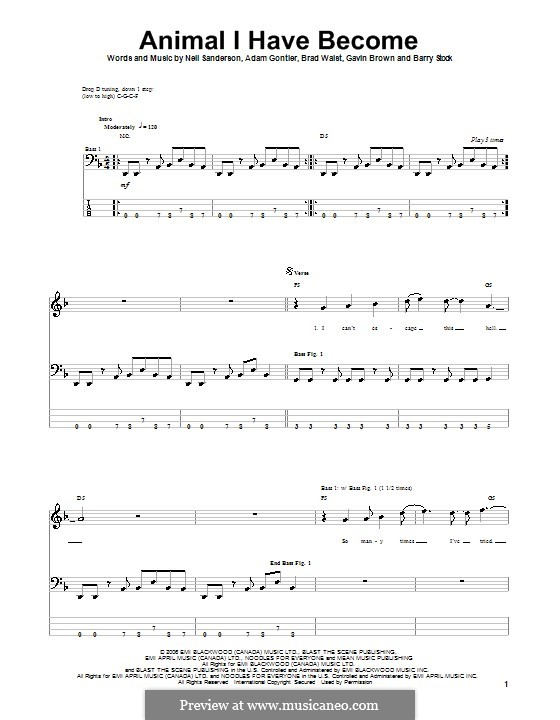 Animal I Have Become (Three Days Grace): For bass guitar with tab by Adam Gontier, Barry Stock, Brad Walst, Gavin Brown, Neil Sanderson
