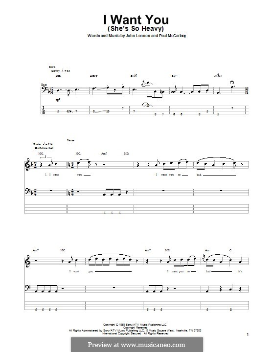 I Want You (She's So Heavy): For bass guitar with tab by John Lennon, Paul McCartney