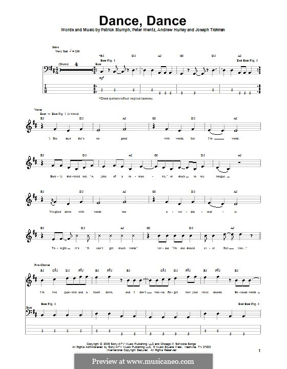 Dance, Dance (Fall Out Boy): For bass guitar with tab by Andrew Hurley, Joseph Trohman, Patrick Stump, Peter Wentz