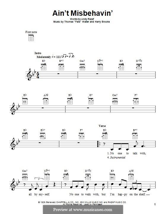 Ain't Misbehavin': For ukulele by Fats Waller, Harry Brooks