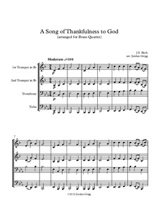 A Song of Thankfulness to God (Father, We Thank Thee): For brass quartet by Johann Sebastian Bach