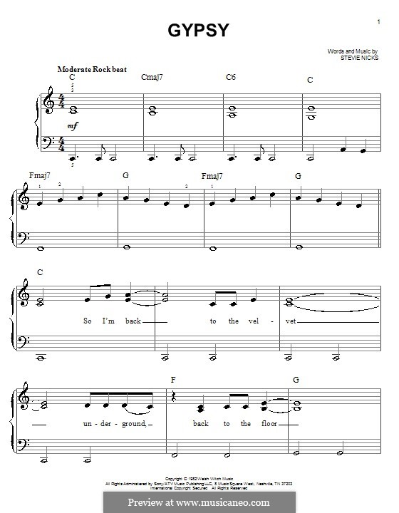 gypsy fleetwood mac by s nicks sheet music on musicaneo. Black Bedroom Furniture Sets. Home Design Ideas
