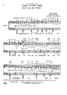 Songs, Op.326: No.27 Still as the Night, for piano by Carl Böhm