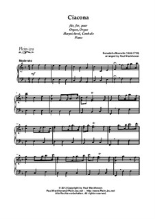 Twelve Sonatas for Flute and Basso Continuo, Op.2: Ciacona, for Keyboard by Benedetto Marcello