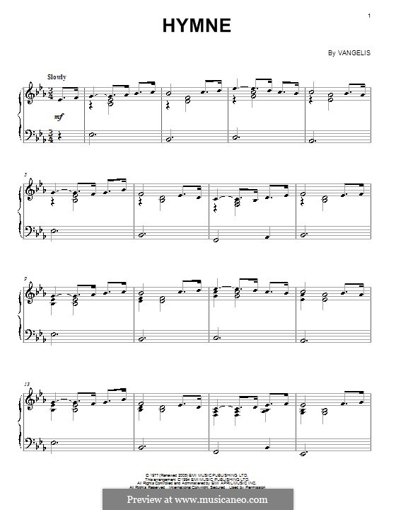 Hymne: For piano by Vangelis